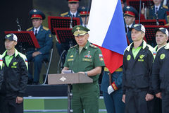 Sergey Shoygu. TRAINING GROUND ALABINO, MOSCOW REGION, RUSSIA - JUL 30, 2016: Sergey Kuzhugetovich Shoygu - Minister of Defence of the Russian Federation at the Stock Images