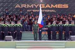 Sergey Shoygu. TRAINING GROUND ALABINO, MOSCOW REGION, RUSSIA - JUL 30, 2016: Sergey Kuzhugetovich Shoygu - Minister of Defence of the Russian Federation at the Stock Photos