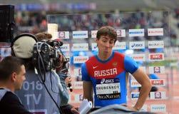 Sergey Shubenkov winner of 110 m. hurdles Royalty Free Stock Photo