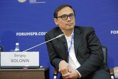 Sergey Solonin. SAINT-PETERSBURG, RUSSIA - JUN 18, 2016: St. Petersburg International Economic Forum SPIEF-2016. Sergey Solonin, Chief Executive Officer, Qiwi Royalty Free Stock Photo