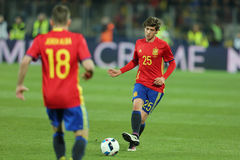 Sergi Roberto. Carnicer midfielder of the Spanish National Football Team, pictured during the friendly match between Romania and Spain, played at Cluj Arena royalty free stock photography