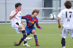 Sergi Samper plays with F.C Barcelona youth team against Gimnastic de Tarragona at Ciutat Esportiva Joan Gamper Royalty Free Stock Photography