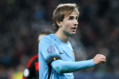 Sergi Samper during the UEFA Champions League game between Bayer. Leverkusen, Germany- December 9, 2015: Sergi Samper during the UEFA Champions League game stock image