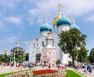 Sergiev Posad, Moscow region. Holy Trinity St. Sergius Lavra. Cathedral of the Assumption, Assumption storehouse with a chapel, the chapel blessing of water Royalty Free Stock Photos