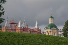 Sergiev Posad, Rússia Território junto ao templo de Sergius de Radonezh Fotografia de Stock