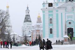 Sergiev Posad, Rusland: 10 december, 2016 Heilige drievuldigheid-St Sergi Royalty-vrije Stock Afbeelding