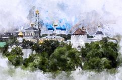 Sergiev Posad Skyline watercolor. Old churches in Sergiev Posad city Russia - watercolor Skyline of Old Russian town Royalty Free Stock Images