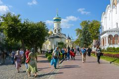 Sergiev Posad, Russia - September 2, 2018: Holy Trinity Of St. Sergius Lavra. Cathedral of the assumption, Church of the descent o stock photography