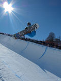 Sergio Berger SUI Half Pipe. Race World Cup snowboard Half Pipe in Valmalenco Italy Royalty Free Stock Images