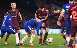 Sergio Busquets and Eden Hazard. Football players pictured during the UEFA Champions League Round of 16 game between Chelsea FC and FC Barcelona held on February Royalty Free Stock Photo