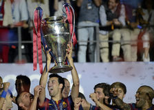 Sergio Busquets lifts the UEFA Champions League Trophy Stock Images