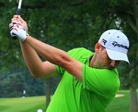 Sergio Garcia Taking a Shot. Spanish golfer Sergio Garcia prepares to hit the ball at the PGA golf event Stock Images