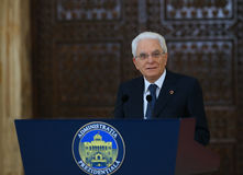 SERGIO MATTARELLA. Italian President Sergio Mattarella pictured during an official meeting with Romanian President Klaus Iohannis ( not in picture ) at Cotroceni royalty free stock photo