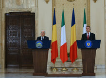 SERGIO MATTARELLA AND KLAUS IOHANNIS. Italian President Sergio Mattarella ( L ) and Romanian President Klaus Iohannis ( R ) pictured during an official meeting Royalty Free Stock Photography