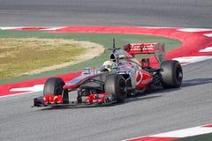 Sergio Perez McLaren MP4-28 Immagine Stock