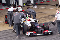 Sergio Perez Sauber join box 3th Test Barcelona Royalty Free Stock Photos