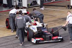 Sergio Perez Sauber sluit zich aan doos bij 3de Test Barcelona Royalty-vrije Stock Foto's