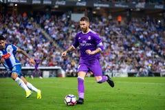 Sergio Ramos plays at the La Liga match between RCD Espanyol and Real Madrid CF at RCDE Stadium stock images