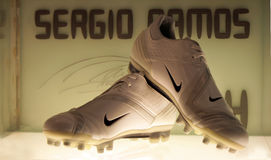 Sergio Ramos's shoes. A shot of Sergio Ramos's shoes in the Real Madrid museum Stock Images