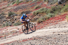 SERGIO RUIZ N195 in action at Adventure mountain bike marathon  Royalty Free Stock Image