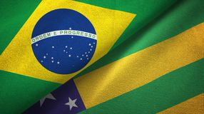 Sergipe state and Brazil flags textile cloth, fabric texture. Sergipe state and Brazil folded flags together vector illustration