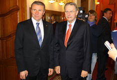 Serhiy Bubka and Jacques Rogge Stock Photo