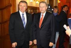Serhiy Bubka and Jacques Rogge stock photo