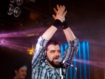 Serhiy Prysiazhnyi, lider i piosenkarz Ukraińska rockowa grupa, Jedzie ` rolla, koncert w Vinnytsia, Ukraina, 24 01 2016, artykuł Zdjęcie Stock