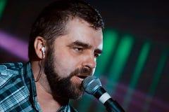 Serhiy Prysiazhnyi, lider i piosenkarz Ukraińska rockowa grupa, Jedzie ` rolla, koncert w Vinnytsia, Ukraina, 24 01 2016, portret Zdjęcia Royalty Free
