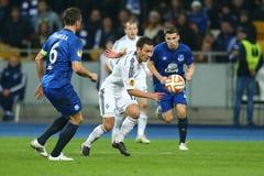 Serhiy Rybalka和球、UEFA欧罗巴16在发电机之间的秒腿比赛同盟回合和埃弗顿 库存照片