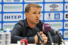 Serhyi REBROV during the press-conference Royalty Free Stock Images
