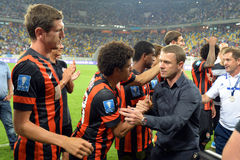 SERHYI REBROV and Shakhtar players Royalty Free Stock Images