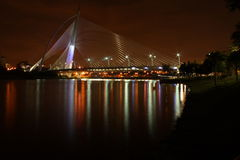 Seri Wawasan Bridge at dusk, Putrajaya. Seri Wawasan Bridge @ signature bridge, Putrajaya, Kuala Lumpur,  Malaysia at dusk before a heavy downpour. Photo taken Royalty Free Stock Photo