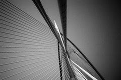 Seri Wawasan Bridge i svartvitt Royaltyfri Fotografi