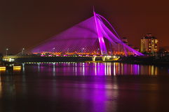 Seri wawasan bridge at putrajaya malaysia. A bridge that can change colour at night Stock Photography