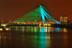 Seri wawasan bridge at putrajaya malaysia. A bridge that can change colour at night Stock Photo