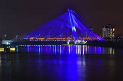 Seri wawasan bridge at putrajaya malaysia. A bridge that can change colour at night Royalty Free Stock Image