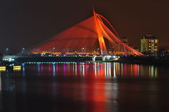 Seri wawasan bridge at putrajaya malaysia. A bridge that can change colour at night Stock Images