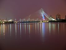 Seri Wawasan Bridge in Putrajaya by night Royalty Free Stock Images