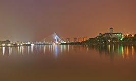 Seri Wawasan Bridge in Putrajaya by night Royalty Free Stock Image