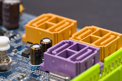 Serial ATA Connectors. Computer motherboard serial ATA connectors Royalty Free Stock Photo