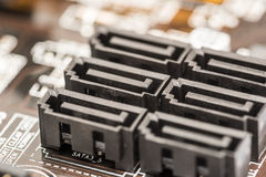 Serial ATA Connectors. On Computer Motherboard Close Up Royalty Free Stock Photo