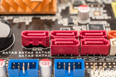 Serial ATA Connectors On Motherboard Stock Photo