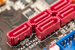 Serial ATA Connectors On Motherboard Stock Photography