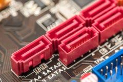 Serial ATA Connectors On Motherboard. Serial ATA Connectors On Computer Motherboard stock photography