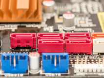 Serial ATA Connectors On Motherboard. Serial ATA Connectors On Computer Motherboard royalty free stock images