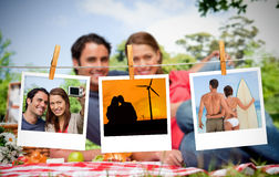 Serial instant photos of holiday scenes hung with a peg Royalty Free Stock Photo