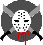 Serial Killer Badge / Emblem. Badge / Emblem / Icon / Sticker with a classic Halloween style monster motif, featuring a serial killer`s hockey mask against a Royalty Free Stock Image