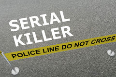 Serial Killer concept. 3D illustration of SERIAL KILLER title on the ground in a police arena Stock Photos