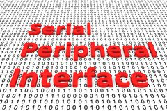 Serial peripheral interface. In the form of binary code, 3D illustration Stock Image